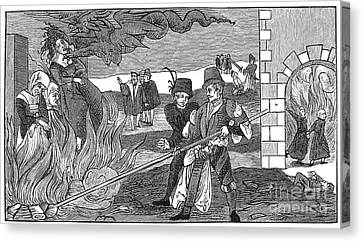Witch Burning, 1555 Canvas Print by Granger