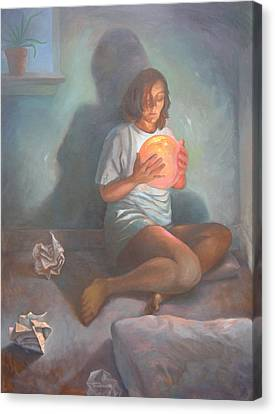 Canvas Print featuring the painting With A Magic Ball by Alla Parsons