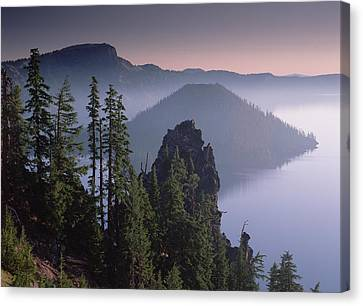 Wizard Island In The Center Of Crater Canvas Print by Tim Fitzharris