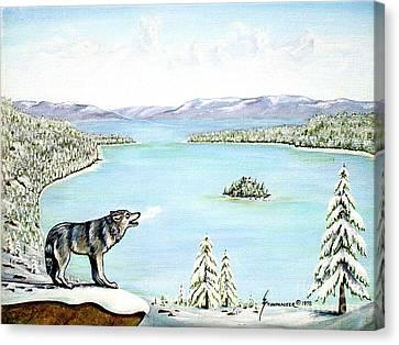 Wolf At Lake Tahoe Canvas Print by Jerome Stumphauzer