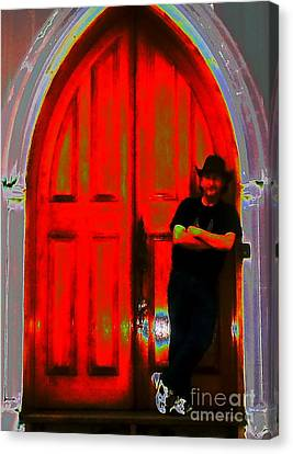 Wolf At The Door Canvas Print by Jesse Ciazza
