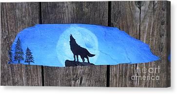 Wolf Howl1 Canvas Print by Monika Shepherdson