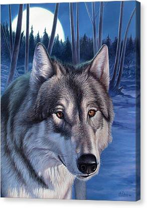 Wolf In Moonlight Canvas Print