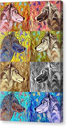 Canvas Print featuring the digital art Wolf Views by Mary Schiros
