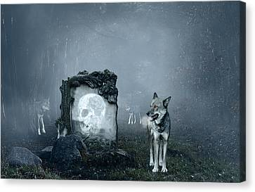 Wolves Guarding An Old Grave Canvas Print by Jaroslaw Grudzinski