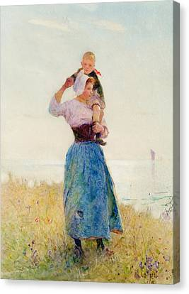 Standing Canvas Print - Woman And Child In A Meadow by Hector Caffieri