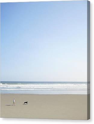 Woman And Dog On Beach Canvas Print by Richard Newstead