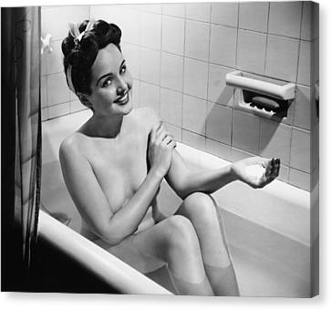 Woman Bathing, (b&w), Portrait Canvas Print by George Marks