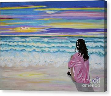 Woman By The Sea Canvas Print by Phyllis Kaltenbach