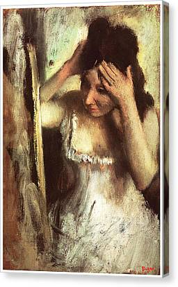 Woman Combing Her Hair Canvas Print - Woman Combing Her Hair Before A Mirror by Edgar Degas