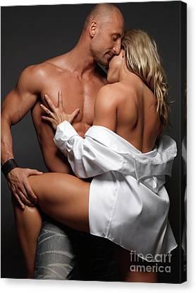 Woman Embracing A Muscular Man Canvas Print