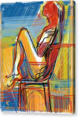 Beach Chair Canvas Print - Woman In Chair by Russell Pierce