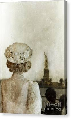 Woman In Hat Viewing The Statue Of Liberty  Canvas Print by Jill Battaglia