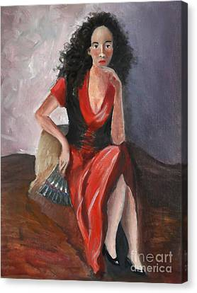 Woman In Red - Inspired By Pino Canvas Print