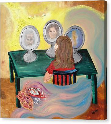 Woman In The Mirror Canvas Print by Lisa Kramer
