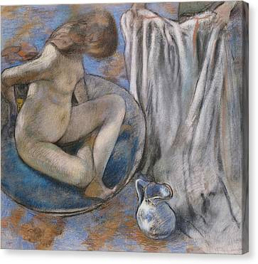 Woman In The Tub Canvas Print by Edgar Degas