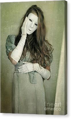 Woman In White Mask Wearing 1930s Dress Canvas Print by Jill Battaglia