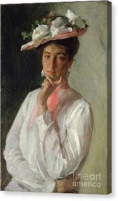 Woman In White Canvas Print by William Merritt Chase