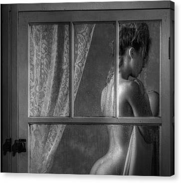 Woman In Window Canvas Print by Ron Schwager