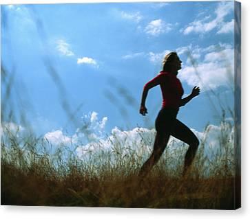 Jogging Canvas Print - Woman Jogging by Cristina Pedrazzini