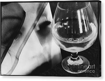 Woman Looking Through Glass Version 1 Canvas Print by Christine Perry