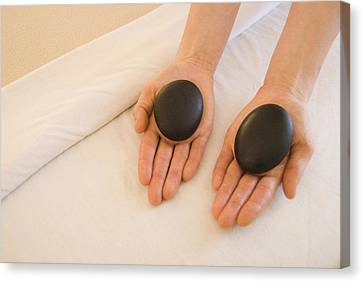 Woman Massage Therapist Hands Holding Canvas Print by James Forte