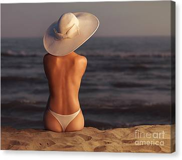 Woman On A Beach Canvas Print