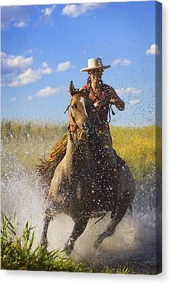 Woman Riding A Horse Canvas Print by Richard Wear