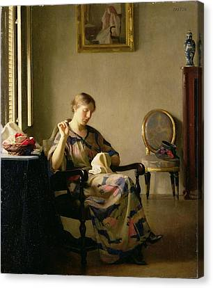 Woman Sewing Canvas Print by William McGregor Paxton