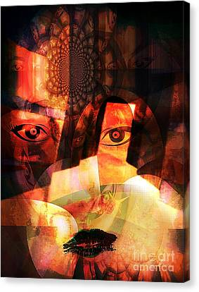 Woman Spirit At The Door  Canvas Print by Fania Simon