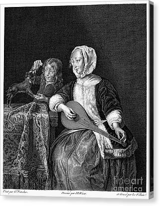 Woman Tuning A Lute Canvas Print by Granger
