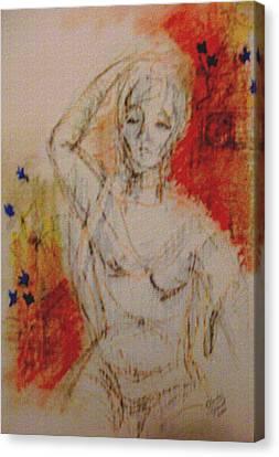Woman Washing Hair By Stream Canvas Print by Cj Carroll