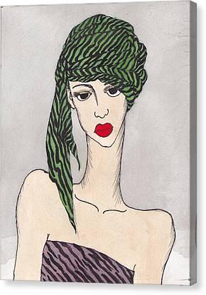 Woman Wearing A Turban Canvas Print by Dorrie Ratzlaff