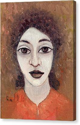 Woman With Large Dark Brown Eyes And Hair Orange Shirt Dark Eyebrows  Canvas Print by Rachel Hershkovitz