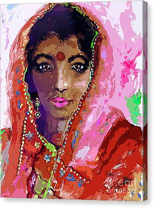 Woman With Red Bindi Indian Beauty Canvas Print by Ginette Callaway