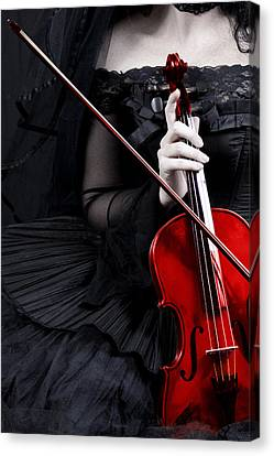 Canvas Print featuring the photograph Woman With Red Violin by Ethiriel  Photography