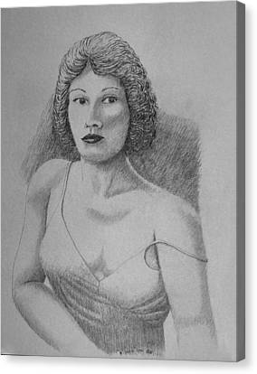 Canvas Print featuring the drawing Woman With Strap Off Shoulder by Daniel Reed