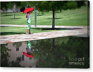 Woman With The Red Umbrella Canvas Print by Tamyra Ayles