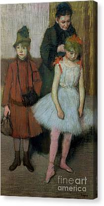 Woman With Two Little Girls Canvas Print by Edgar Degas