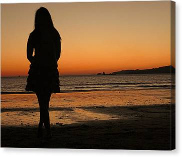 Woman's Shade In The Beach Canvas Print by Jenny Senra Pampin