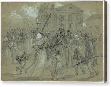 Women And Children Greet Their Loved Canvas Print by Everett