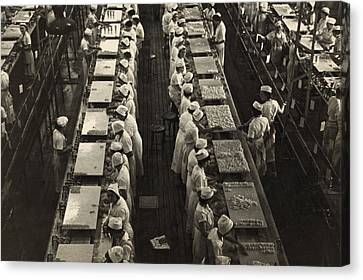 Women Working In A Grapefruit Canning Canvas Print by Everett