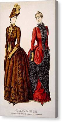 Womens Fashions From Godeys Ladys Book Canvas Print