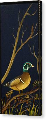 Canvas Print featuring the painting Wood Duck by Al  Johannessen