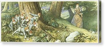 Elves Canvas Print - Wood Elves Hiding And Watching A Lady by Richard Doyle
