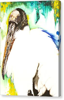 Canvas Print featuring the mixed media Wood Stork by Anthony Burks Sr