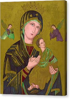 Woodcut Of The Virgin Mary, Titled S Canvas Print by Everett