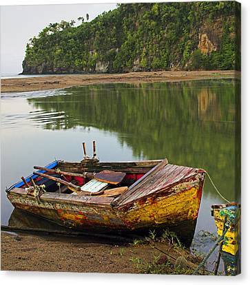 Canvas Print featuring the photograph Wooden Boat- St Lucia by Chester Williams