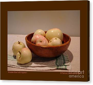 Wooden Bowl With Apples-i Canvas Print by Patricia Overmoyer