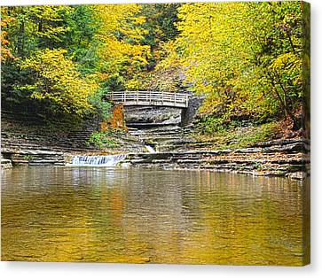 Wooden Bridge And Yellow Leaves Canvas Print